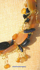 Kette Collier Chalcedon Karneol Blaufluss Gold Marine StyleTeacherAgency Unikat