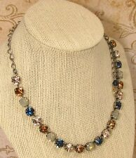 8mm Cup Chain Necklace SILKEN BLUES made w/ Montana Blue Swarovski CrystalS