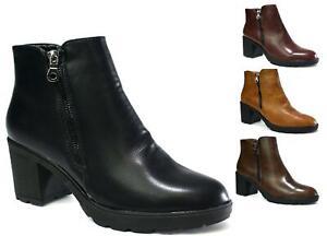 Ladies New Chelsea Ankle Boot-High Block Chunky Heel Grip Zip Up Platform Boot