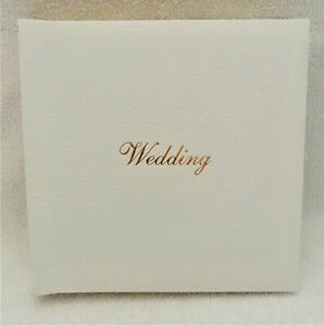 Small sized 9 and a half inch White & gold trim Wedding album book New