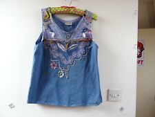 VINTAGE  gypsy/boho/cowgirl 80s cotton denim applique sleeveless vest/ top  M/L