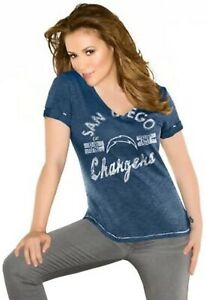San Diego Chargers Navy Fair Catch Distressed Logo Women's V-Neck T-Shirt (XS)