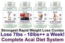 Acai Diet Pills Detox Cleanse Fat Burner Cleanser Lose Weight Loss Tablets Set 4