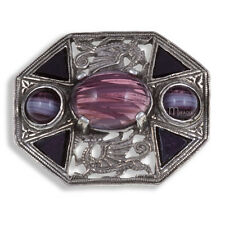 Miracle Pewter Amethyst Purple Cabochon Welsh Dragon Octagon Brooch UK Made