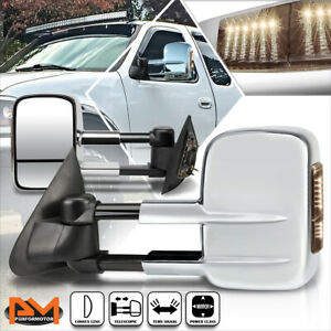For 97-04 Ford F150/97-99 F250 Power Adjust Towing Mirror w/Smoked LED Lamp Pair