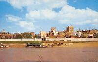 Vicksburg Mississippi~City Skyline~Yazoo Canal Boat Landing~Beach~1950s Postcard