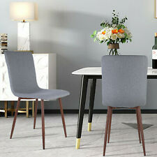 Dining Chairs Set of 4 Fabric Cushion Seat Back Metal Leg Modern Side Chair Gray