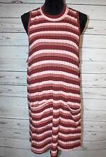 Falls Creek Women's Sz 2X Sleeveless Striped Long Tunic Top Shirt with Pockets
