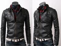 Mens Strap Pocket Slim Fit Men Synthetic Leather Jacket Black BNWT