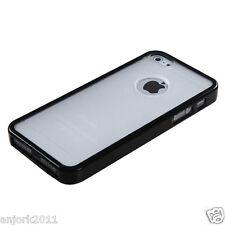 APPLE iPHONE 5 GUMMY HYBRID HARD COVER TPU CASE ACCESSORY CLEAR/BLACK