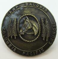 BSA Columbia Pacific Council Camp Baldwin Vintage Metallic Neckerchief Slide