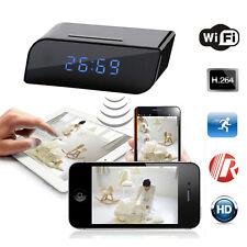 720P Wireless Wifi IP Spy Hidden Camera Motion Security Alarm Clock Recorder AB