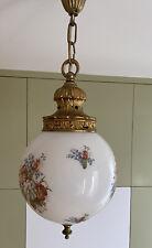 Ceiling Light Vintage Large Globe Floral Glass Pendant 1970s Brass Style Ornate