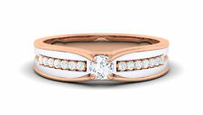 Pave 0.39 Cts Round Brilliant Cut Diamonds Unisex Solitaire Ring In 18Karat Gold