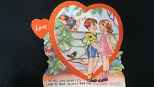 Vintage Camera, Bird, Darling Children Valentine Card c. 1940s