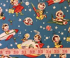 RPFMM81F RARE Retro Atomic Space Ship Space Rocket Stars Cotton Quilt Fabric