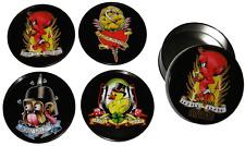 83004 Cartoon Tattoo Flash Coasters Set of 4 Sourpuss Metal Tin Punk Rockabilly