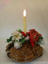 VTG Homemade Christmas Decoration W/ Noma Candle Poinsettias Mushrooms Red Bow