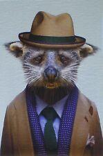 Postcard Racoon Animal Hat Tie Suit