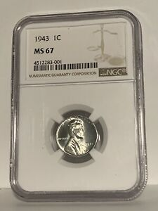 1943 P Steel Wheat Penny 1 Cent NGC MS 67 *High Grade War Penny*
