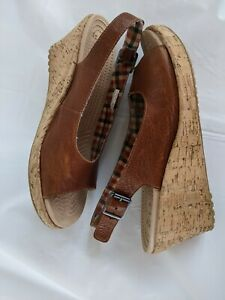 Crocs Cork A-Leigh Wedge Brown Leather Slingback orange plaid lining size 9