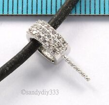 1x RHODIUM STERLING SILVER CZ CRYSTAL PEARL BAIL PIN PENDANT CONNECTOR #2699
