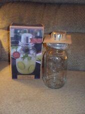 AMERICAN VINTAGE GLASS MASON JAR COCKTAIL SHAKER-NIB-CAP & STRAINER!