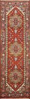 Traditional 8 ft Geometric Indo Heriz Oriental Runner Rug Hand-knotted Wool 3x8