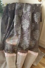 BROWN GOLD DAMASK VOILE PAIR CURTAINS,56WX54D,CREAM PINK STRIPED EMBROIDERED