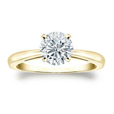 Certified 14k Yellow Gold 4-Prong Round Diamond Solitaire Ring 1.00ct G-H, I2-I3