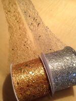 Gold / Silver  OR Bronze Mesh  Ribbon With  Shiny  Bits  . Wedding Cake Ribbon .