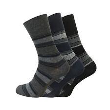 Mens Socks Gentle Grip UK 6-11 EU 39-45 Non Elastic Grey Blue Black Striped Pack