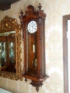 Antique Austrian 1 weight Vienna regulator wall Clock. Burr/burl walnut case