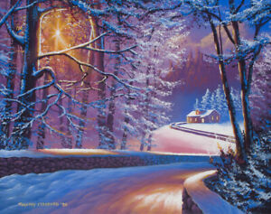 Original Acrylic Painting Christmas Cottage 16x20 Landscape by Timothy Stanford