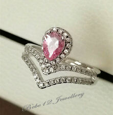 Simulated Pink Diamond Ring/White gold/R121