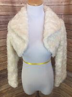 American Girl Long Sleeve Cream Fancy Holiday Shrug Jacket Lined Girls S 14 New