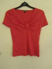 Jaeger Pink Silk Blend V Neck Short Sleeve Top in Size M / Size 8 - 10
