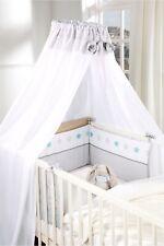 2-tlg Baby-Betten-Set Bettset mit Himmel und Nestchen Polyester Grau Sterne
