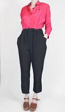 Vintage jumpsuit playsuit pink black color block sz 7/8 80s 90s shiny button up