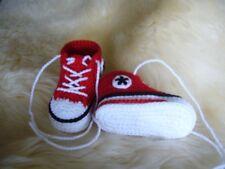 Babychucks Babyschuhe gehäkelt rot Sohlenlänge 9,0cm ca. 0-5 Mon.