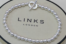 Links Of London Neuf Argent Sterling 925 Petit Perlé Orbit Bracelet Superbe