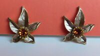 Glamorous Vintage 1950s 60s Topaz rhinestone and Taupe Leaf clip on earrings