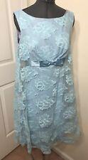 Womens Dress Size M Vintage Blue Lace A-Line ZIP Back Sheath & Overlay Handmade
