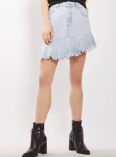 Topshop Womens Moto Jean Light-wash Asymmetrical Hem Frayed Skirt  Size 12- NWT