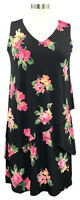 SUSAN GRAVER size PXS black floral Liquid Knit layered sleeveless maxi dress