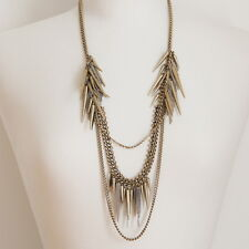 Gold Spiky Spikes Crystals Antique Plating Silver Chains Fashion Necklace