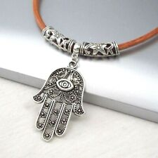 Silver Alloy Hamsa Hand Eye Pendant Light Brown Leather Cord Choker Necklace