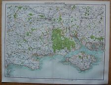 1898 LARGE VICTORIAN MAP - SOUTHAMPTON, HAMPSHIRE, ISLE OF WIGHT