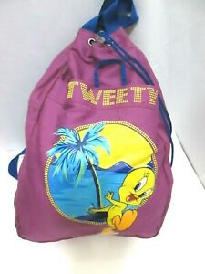 LOONEY TUNES 2002 TWEETY BIRD GRAPHIC DRAWSTRING BACKPACK PURPLE/BLUE VGC