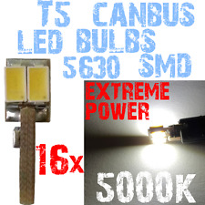 16x T5 LED 5630 White 5000k lichten bollen 12V Dashboard CANBUS Geen Fout 1C10 1
